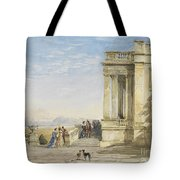 Figures On A Terrace With Greyhounds Tote Bag