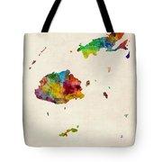 Fiji Watercolor Map Tote Bag
