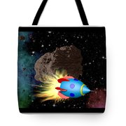 Film Frame With Asteroid And Rocket Tote Bag