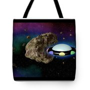 Film Frame With Asteroid And Ufo Tote Bag