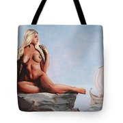Fine Art Female Nude Jennie As Seanympth Goddess Multimedia Painting Tote Bag