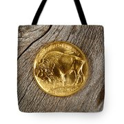 Fine Gold Buffalo Coin On Rustic Wooden Background Tote Bag