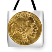 Fine Gold Buffalo Coin On White Background  Tote Bag