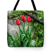 Fine Wine Cafe Red Tulips Tote Bag