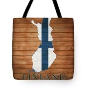 Finland Rustic Map On Wood Tote Bag