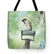 Finnish Dotted Cheek Sparrow Tote Bag