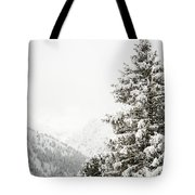 Fir Trees And Mountains Tote Bag