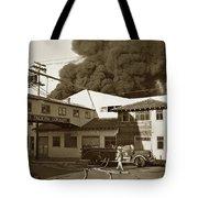 Fire At Cannery Row, Custom House Packing Company Sea Beach Cannery 1953 Tote Bag