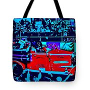 Fire Engine Red In Blue Tote Bag