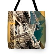 Fire Escapes In White And Gold Tote Bag