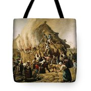 Fire In A Haystack, 1856 Tote Bag