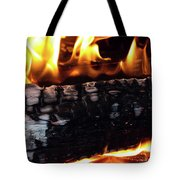 Fire On Wood Tote Bag