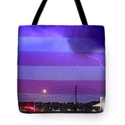 Fire Rescue Station 67  Lightning Thunderstorm With Usa Flag Tote Bag