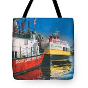 Fireboat And Ferries Tote Bag by Dominic White
