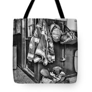Fireman - Always Ready - Black And White Tote Bag