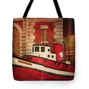 Fireman - Ny - The Fire Boat Tote Bag by Mike Savad