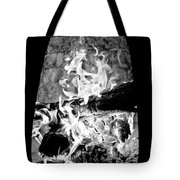Fireplace Black And White Tote Bag