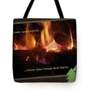 Fireside Christmas Greeting Tote Bag
