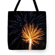 Firework Blue And Gold Tote Bag