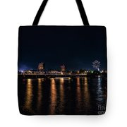 Fireworks And The Blue Bridge Tote Bag