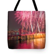 Fireworks And Waterfall Tote Bag