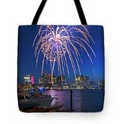 Fireworks Over The Boston Skyline Boston Harbor Illumination Streaming Down Tote Bag
