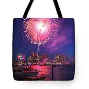 Fireworks Over The Boston Skyline Boston Harbor Illumination Tote Bag