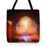 Fireworks Over The Golden Gate Bridge Tote Bag