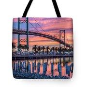 Firey Sunrise Vertical Waterfront Tote Bag