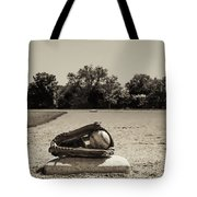 First Base In Sepia Tote Bag