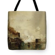 First Fight Between Ironclads Tote Bag by Julian Oliver Davidson