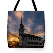First Parish Church In Milton Massachusetts Sunset Tote Bag