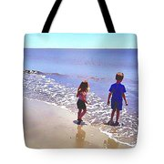 First Time At The Beach Tote Bag