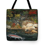 Fish Art Jumping Silver Steelhead Trout Art Nature Artwork Giclee Wildlife Underwater Wall Art Work Tote Bag