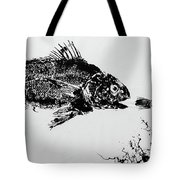 Fish Print On Butcher Paper Tote Bag