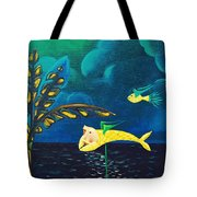 Fish Riding A Unicycle Tote Bag