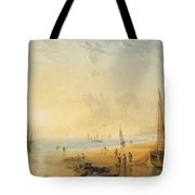Fisherfolk On The Shore Near Dover At Sunset Tote Bag