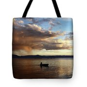 Fisherman At Sunset On Lake Titicaca Tote Bag