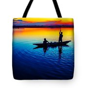 Fisherman Boat On Summer Sunset, Travel Photo Poster Tote Bag