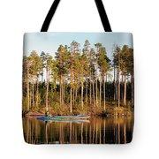 Fisherman On Evening Lake Tote Bag