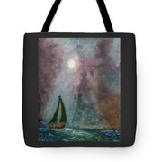 Fisherman Under Full Moon Tote Bag