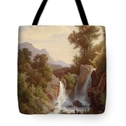 Fishermen By The Waterfall Tote Bag