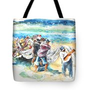 Fishermen In Praia De Mira Tote Bag