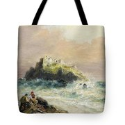 Fishermen On The Rocks Before A Castle Tote Bag