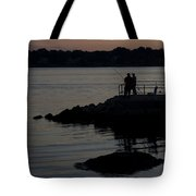 Fishermen Silhouetted By The Sunset Tote Bag