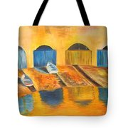 Fishermens Boats At Sundown Tote Bag