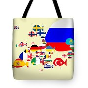 Fishes Map Of Europe Tote Bag