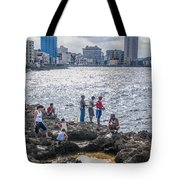 Fishing Along The Malecon Tote Bag