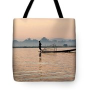 Fishing At Dawn Tote Bag
