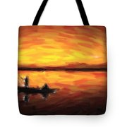 Fishing At Golden Hours Tote Bag